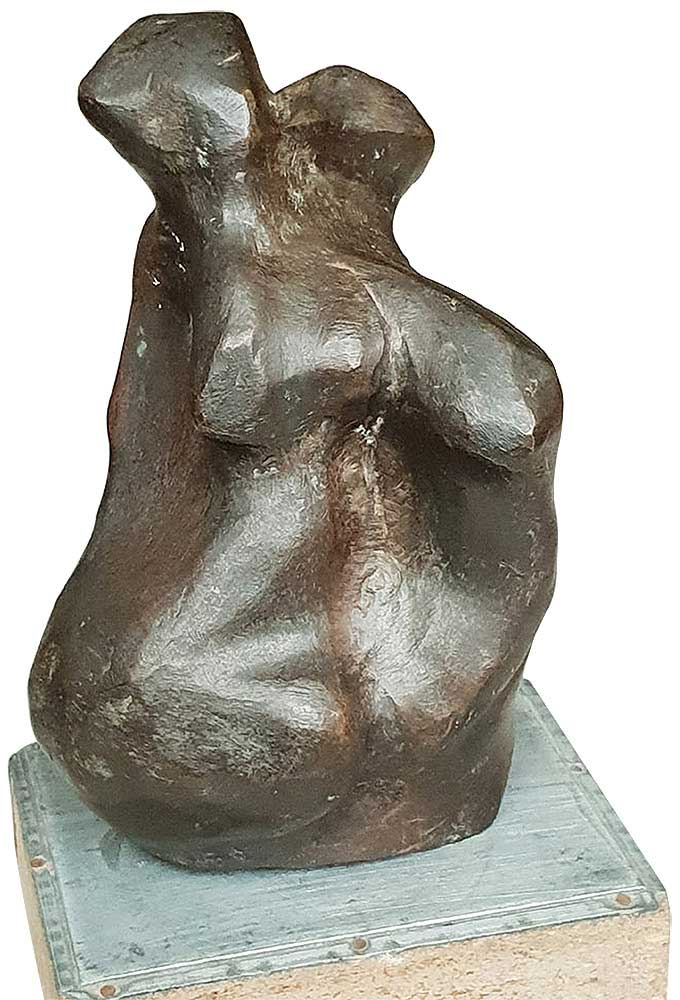 Niranjhan Pradhan Entwined Lovers Bronze Sculpture  3×5.5×1.5 inches 2010