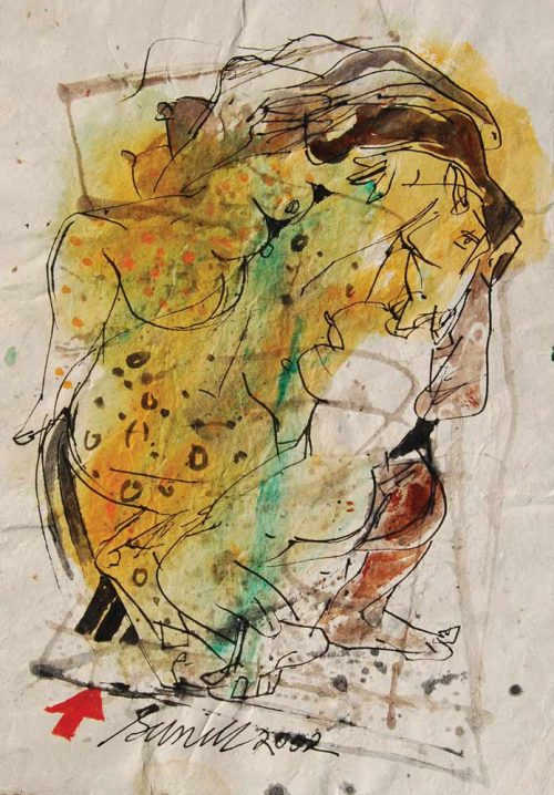 Sunil Das  |  Nude  |  Erotic Colour Based Drawing  |  Watercolour, Pen & Ink on Handmade Paper  |  9.5x13.5 inches  |  2002  INR 1,42,800/-