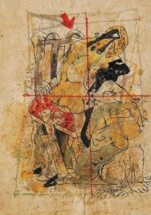 Man Woman and Animal Painting in Yellow Red adn black colors