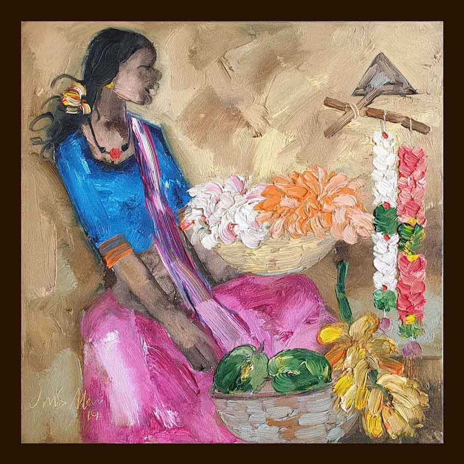 JMS Mani Badami People Oil on Canvas 16×16 inches 2019