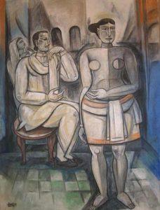 Bijon Chowdhury  |  Ragh Darbari Kannada  |  Mixed Media on Canvas  |  36 x 48 inches  |  2008