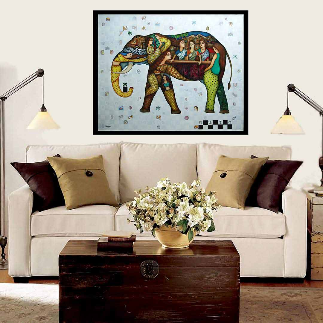 LB 016 Shipra Bhattacharya | Gaj Yatra, Acrylic, Oil on Canvas | 50 x 40 inches 2018
