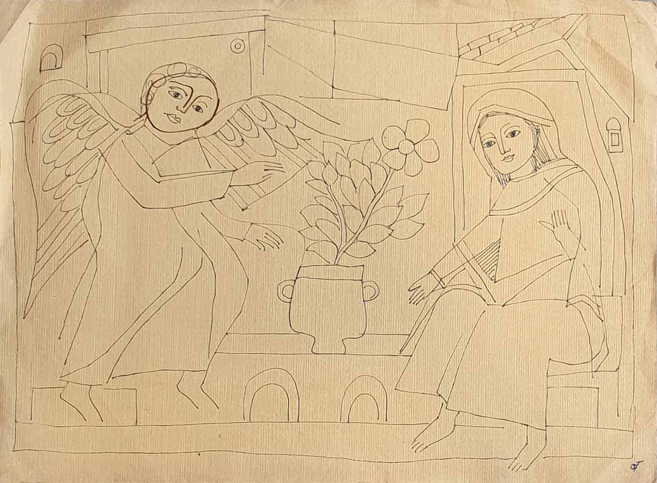 angel-with-women-drawing-on-paper-15×11-inches