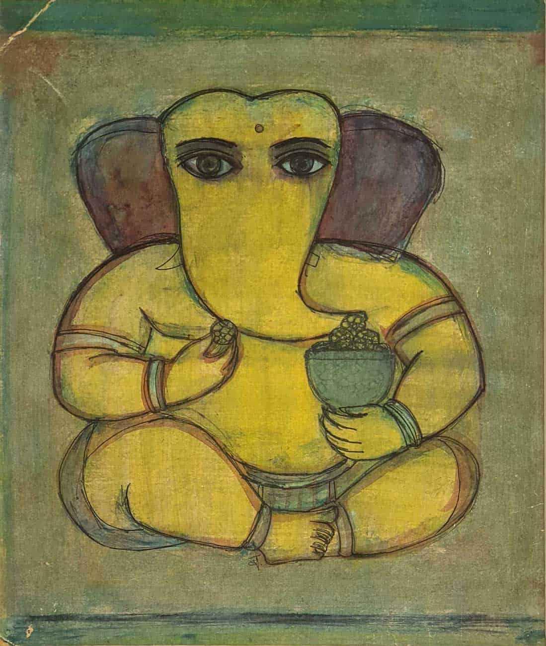 ganesha-eating-laddu-watercolour-on-paper-8.5×10.25-inches-1957-min