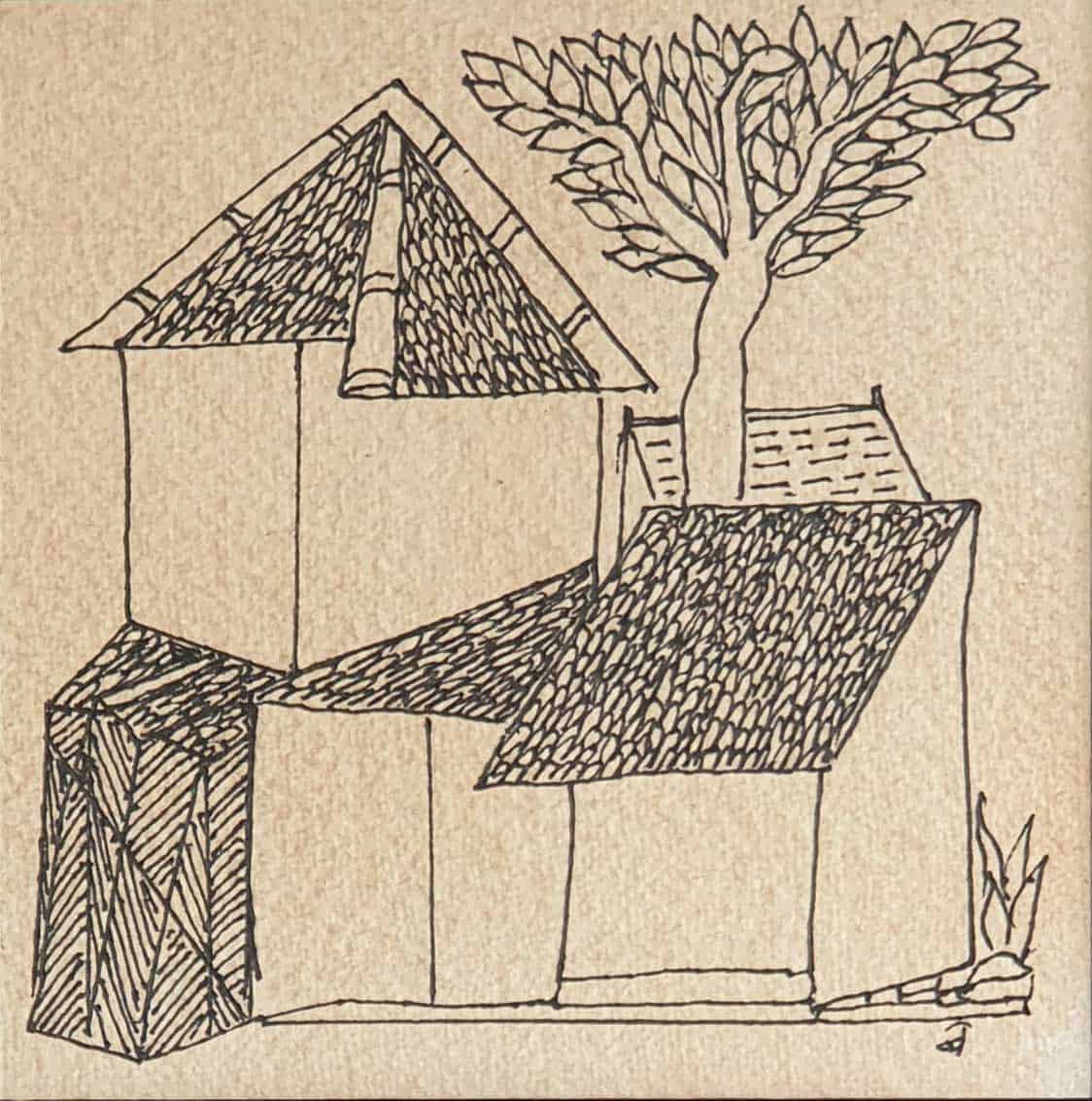 Badri Narayan House Series Ink on Paper 5×5 inches