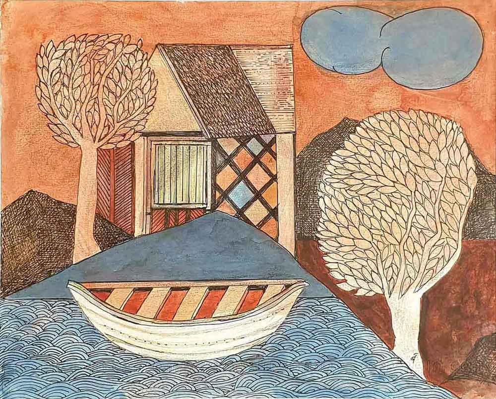 house-trees-cloud-boat-watercolour-colour-pencil-on-paper-12.25×10-inches-2007-min