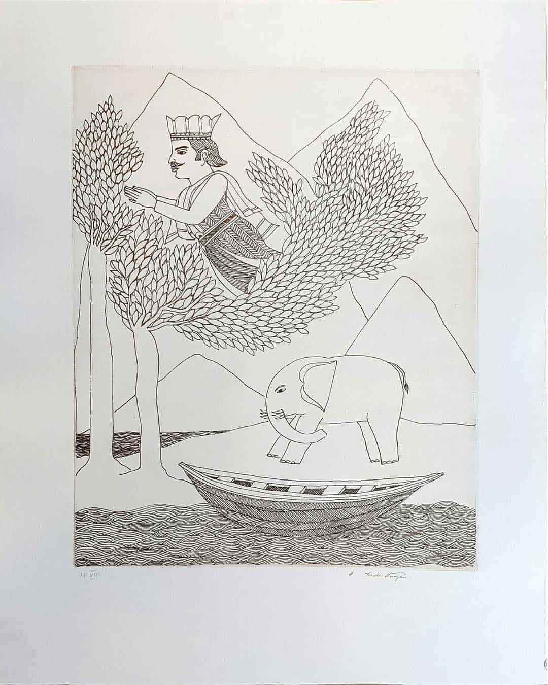 king-elephant-boat-etching-on-paper-16×20.25-inches-min