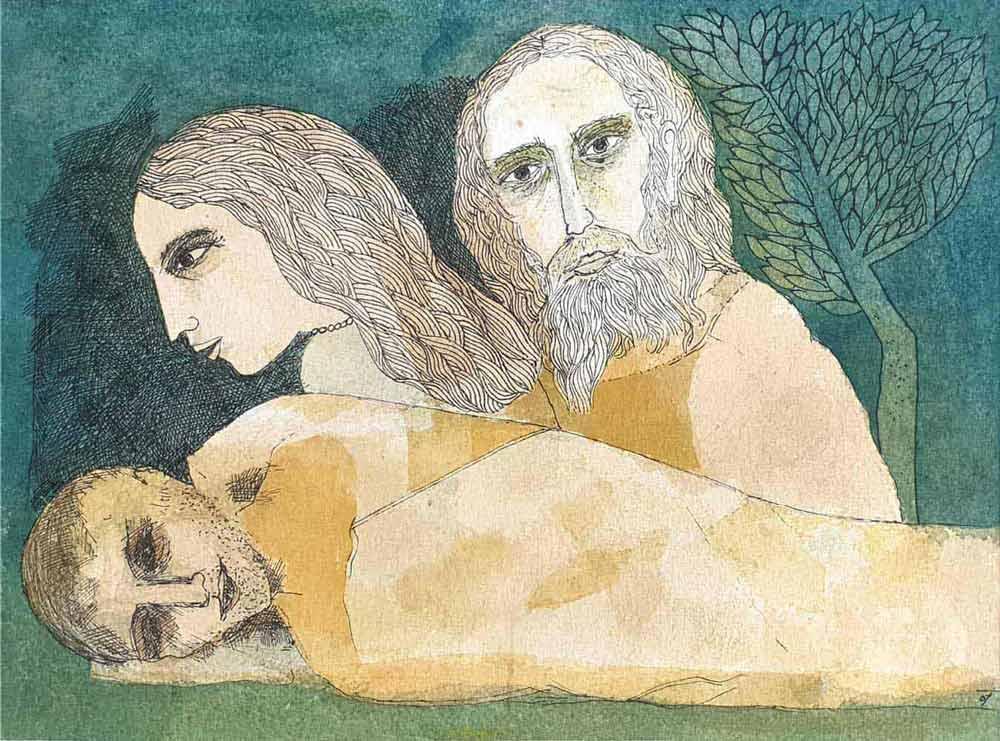 Badri Narayan | Savitri, Satyavan, Yama | Watercolour on Paper | 15×11 inches | 2006