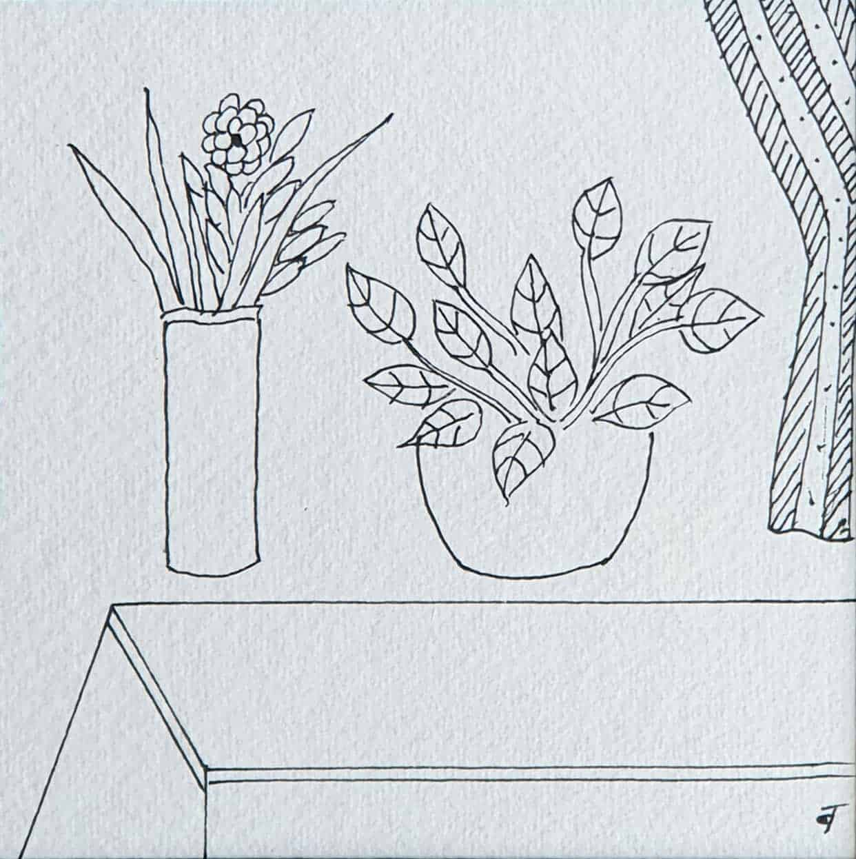 still-life-flower-vase-drawing-on-paper-5×5-inches-2008-min