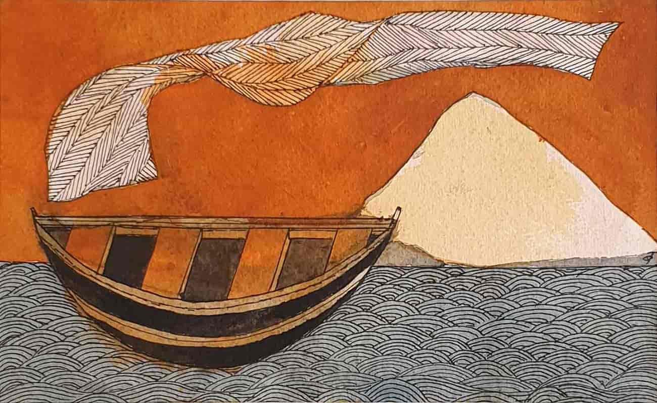 Badri Narayan  |  The Celestial Garment Watercolour on Paper  |  6.5 x 11 inches  |  2006