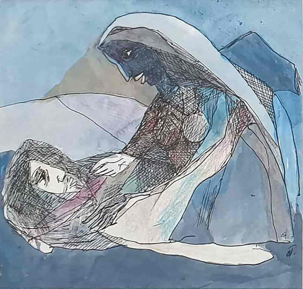 the-sleeping-monk-woman-watercolour-on-paper-8×8-inches-2007-min