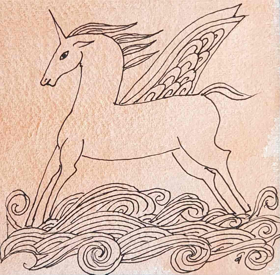 the-winged-unicorn-drawing-pen-watercolour-on-paper-5×5-inches-2008-min