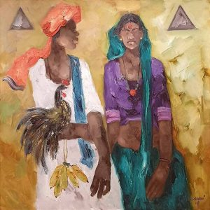 JMS Mani | Badami People | Oil on Canvas | 40 x 40  inches INR 1,55,000/-