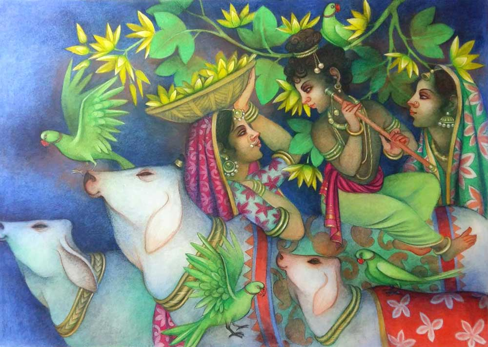 krishna-playing-flute-with-cows-gopis-tempera-on-canvas-42×60-inches