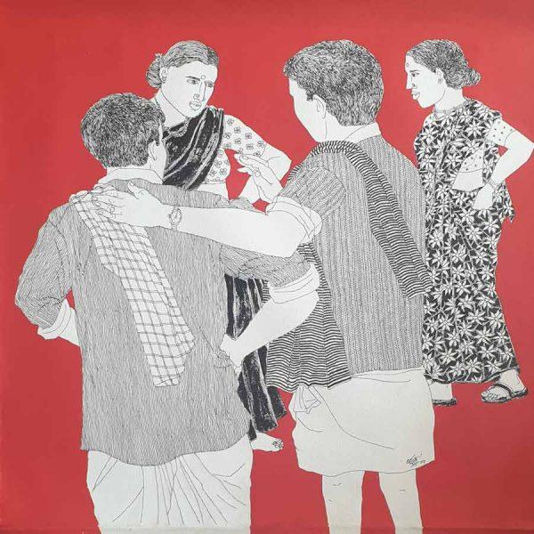 Laxman Aeley | Village Life Acrylic on Canvas
