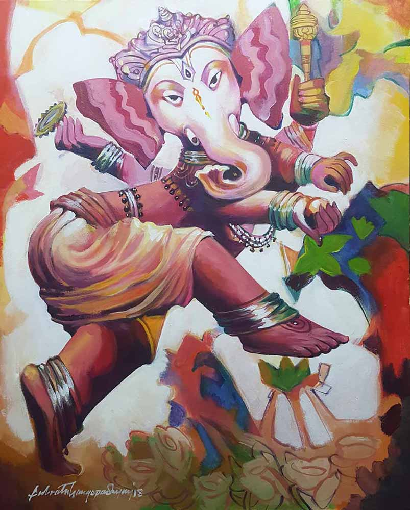 subrata-gangopadhyay-ganesha-acrylic-on-canvas-26×32-inches-2019