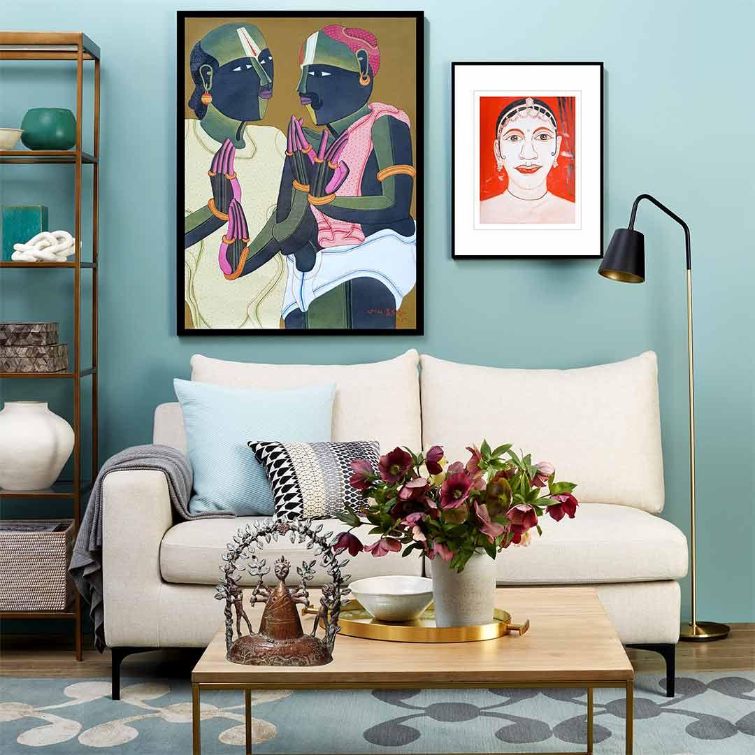 Thota Vaikuntam 24 x 18 inches Acrylic on Canvas | Birendra Pani 15 x 11 inches | Water Colour