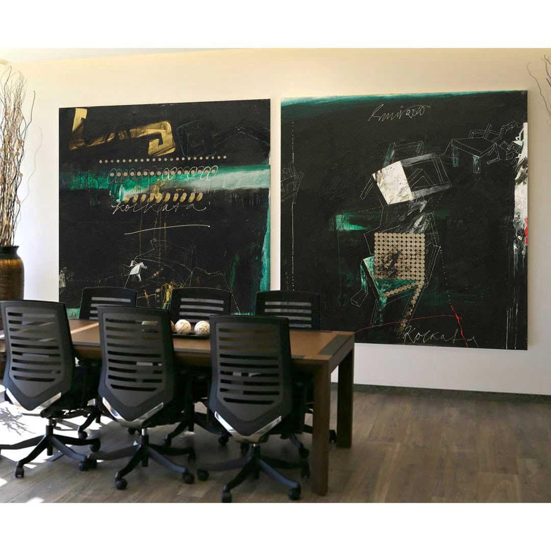 Sunil Das Mixed media on Canvas 66 x 66 inches each