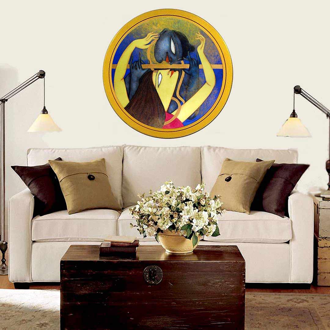 Shuvaprasanna | Golden Flute | 36 inches | Acrylic Oil & Charcoal on Canvas
