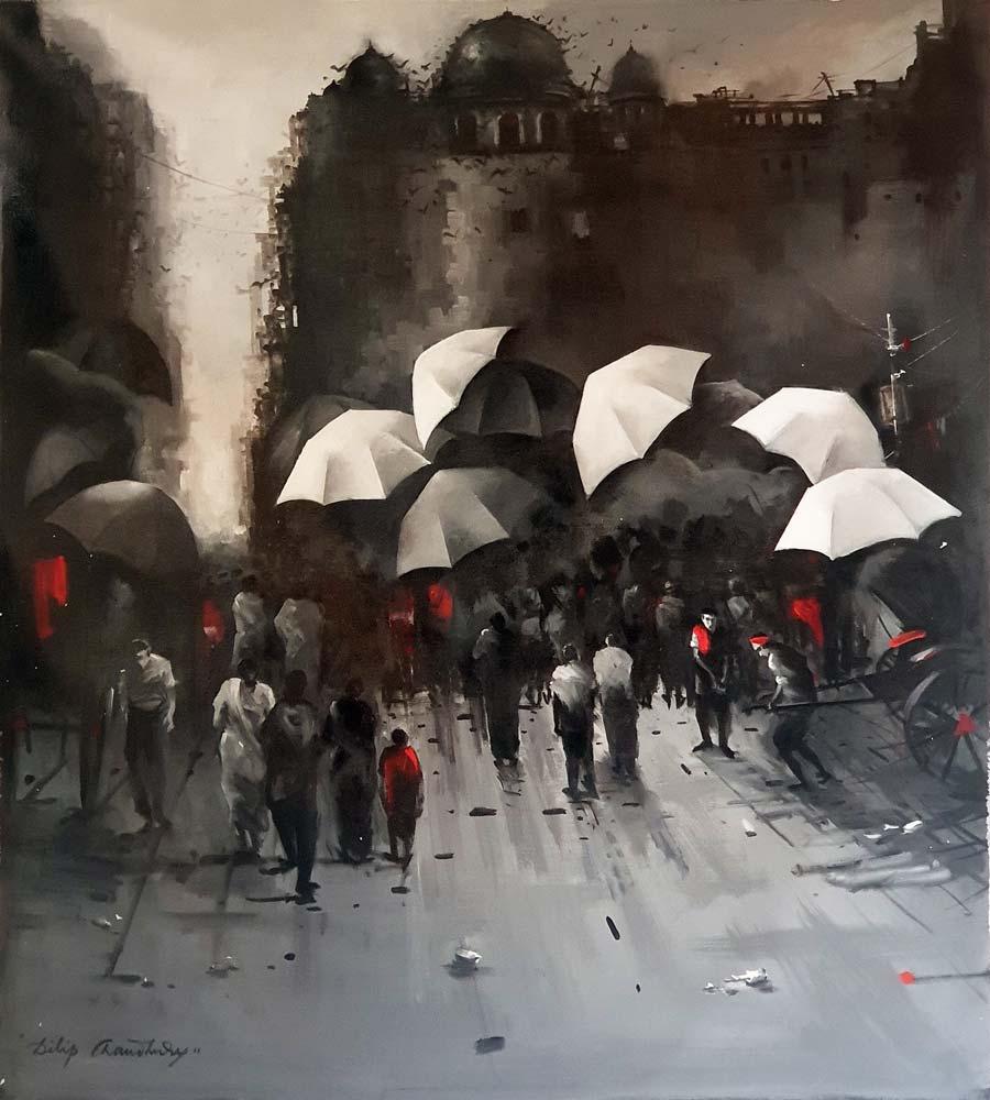 dilip-chowdhury-kolkata-street-acrylic-on-canvas-36×40-inches