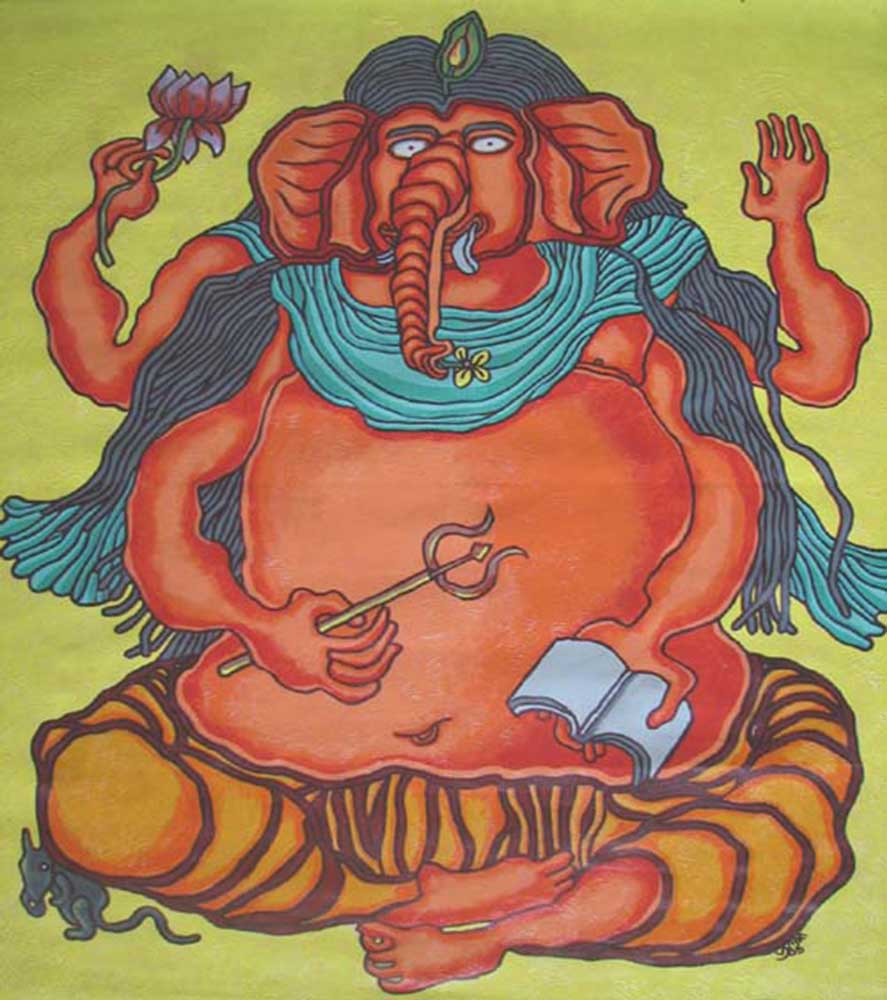 lot-1-prakash-karmakar-ganesha40x35.5-inches-acrylic-on-canvas