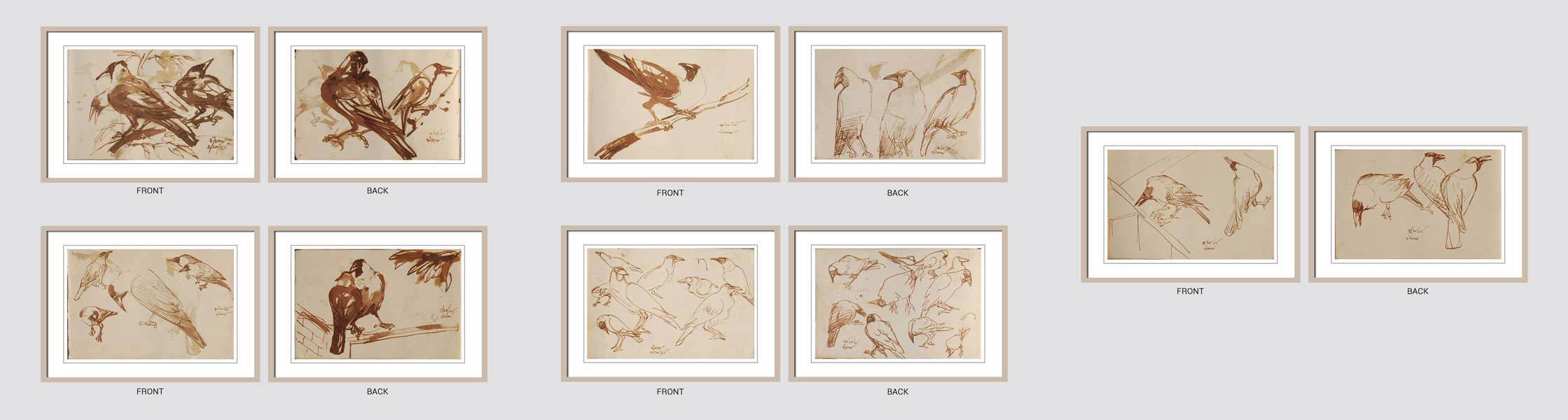 Dipen Bose Crow Series Brush on Paper 5.5×7 inches 1961-64 (Set of 5)