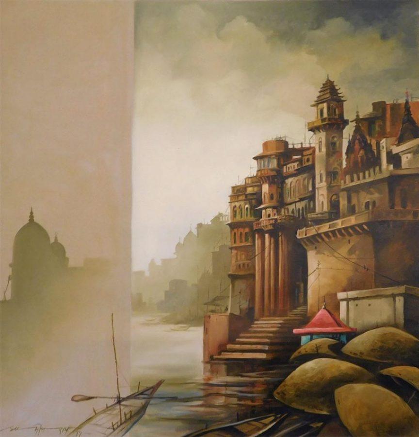sudip-roy-banaras-oil-on-canvas-48×50-inches