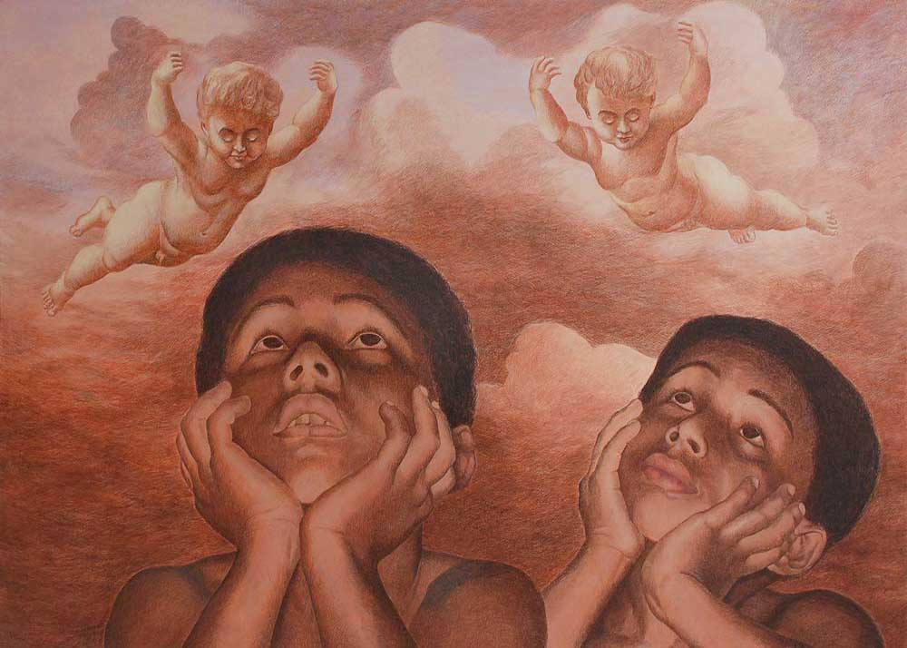Kamal Mitra Lost Childhood Acrylic on Canvas 70×50 inches