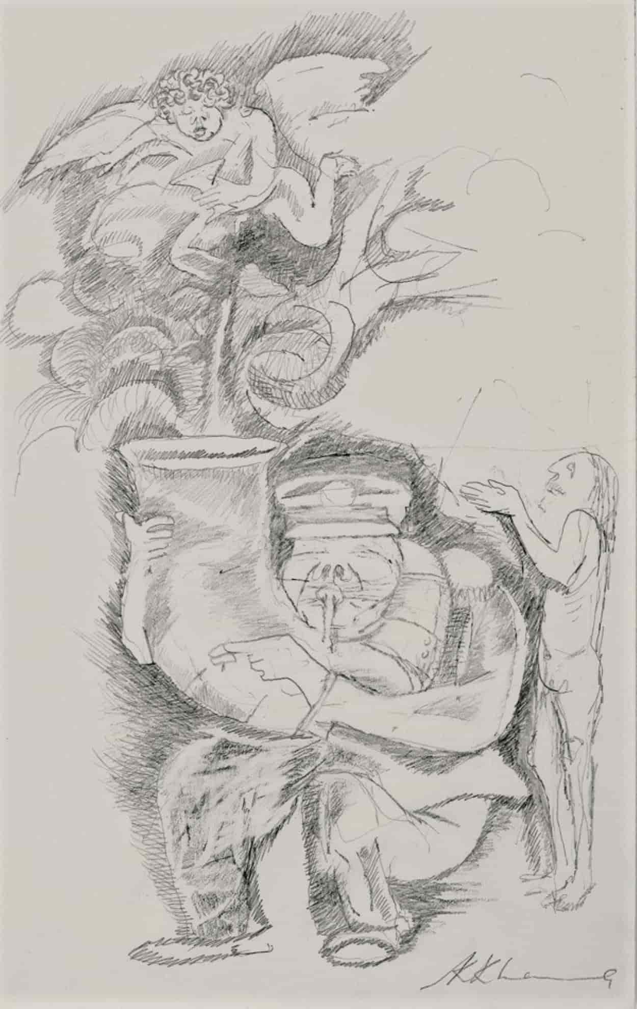 Krishen Khanna Bandwala Pencil on Paper 8×6 inches