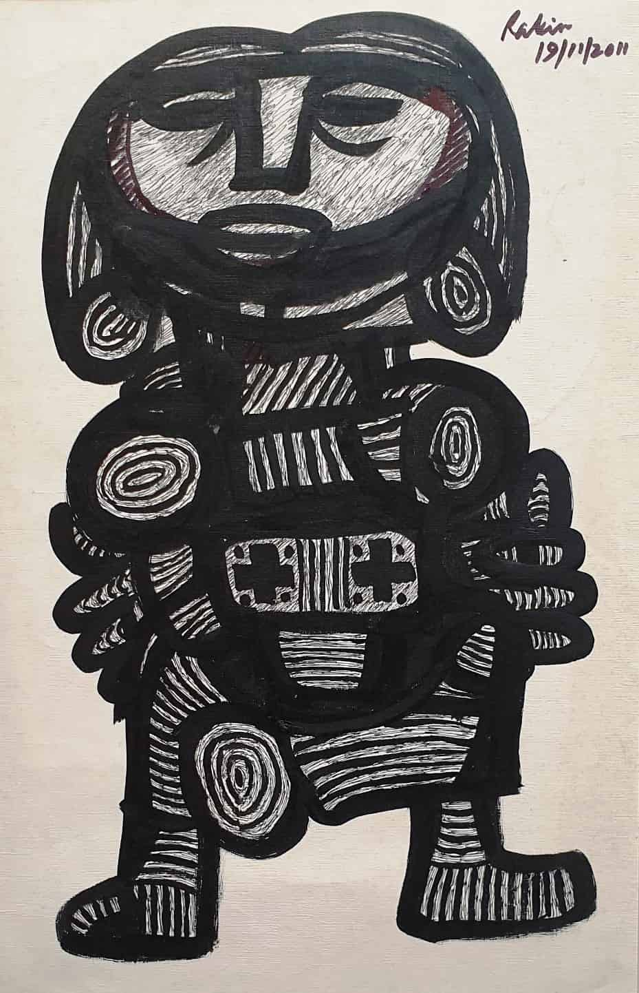 Rabin Mondal | Untitled, Figurative, Acrylic on Paper, 15×22 inches, 2011 INR 59000