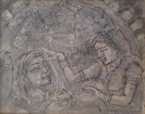 Shyamal Dutta Ray | Sindur Khela | Mixed Media on Paper | 10 x 8 inches