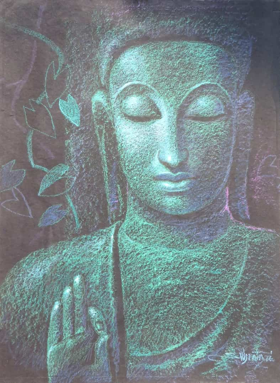 subrata-das-buddha-pastel-on-paper-30×20-inches