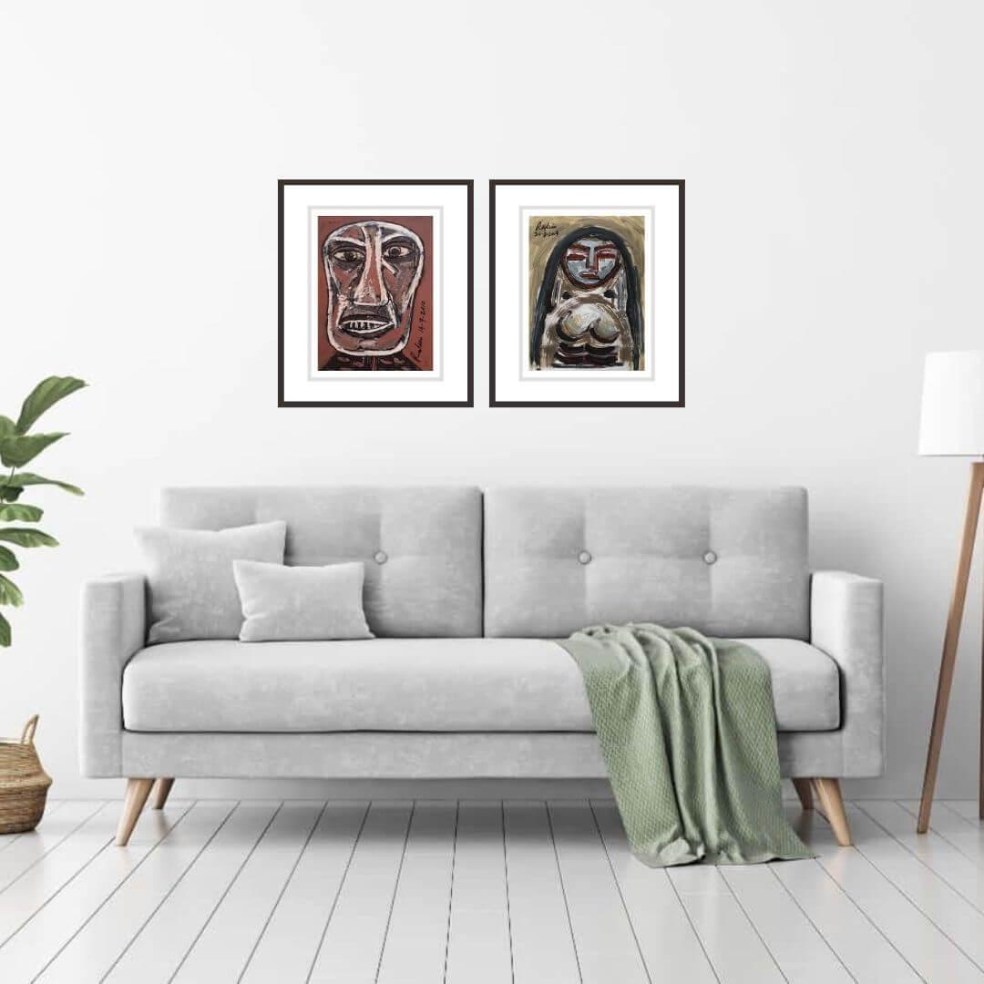 LB 013 Rabin Mondal | Man & Woman | Acrylic on Board | 13 x 10 inches & 13.5 x 10.75 inches