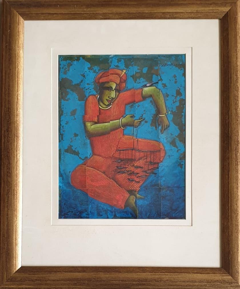 Samir Sarkar Acrylic on Stripped Board 15×11 inches