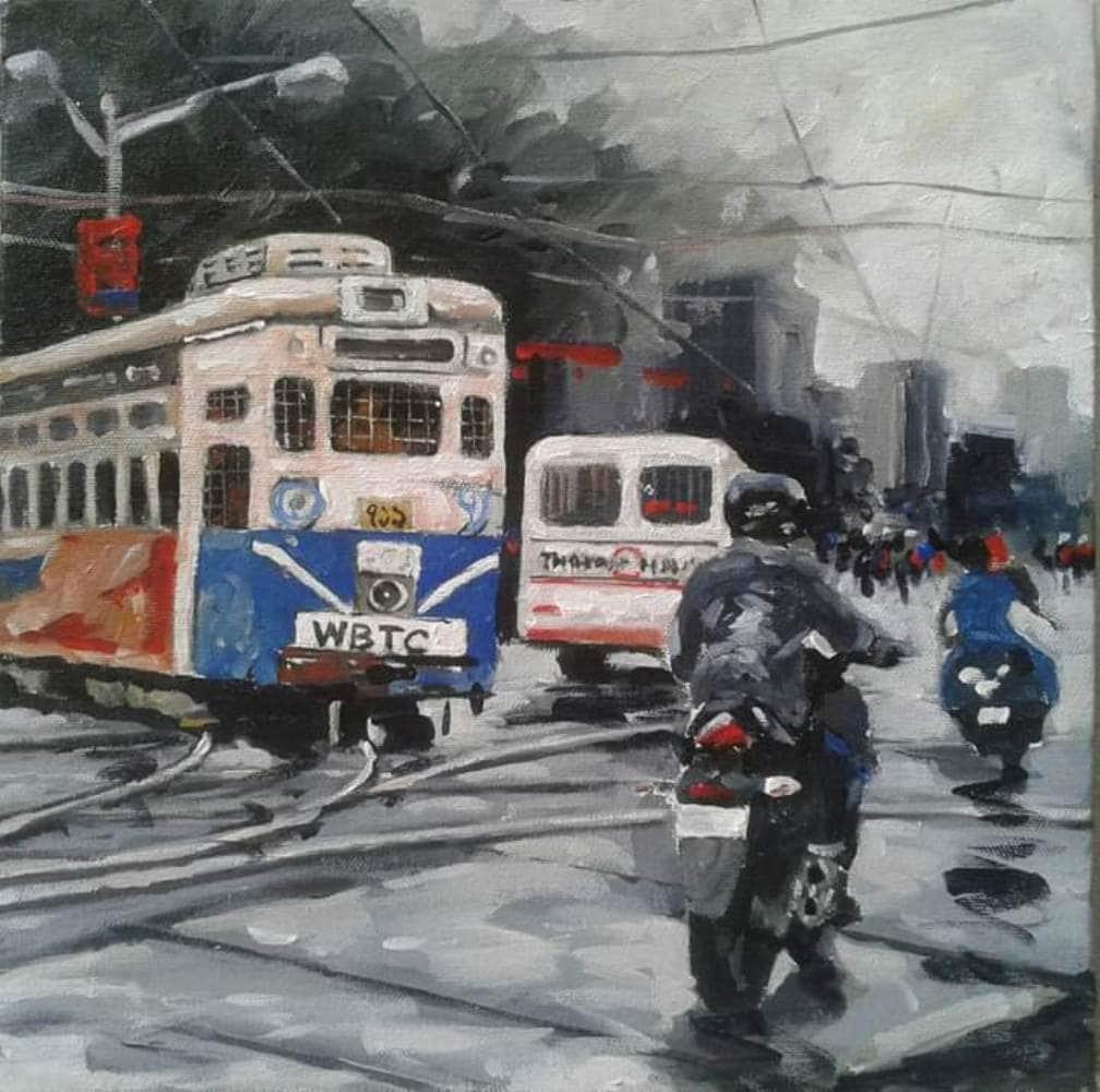 Raju Sarkar Acrylic on Canvas 12×12 inches