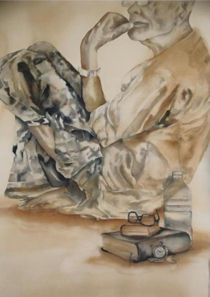 afza-tamakanat-isolation-coffee-watercolour-on-acid-free-paper-42×48-inches-2014