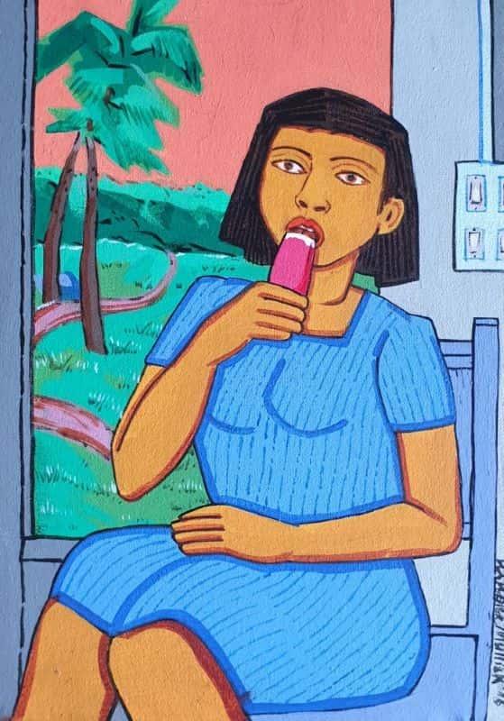 Ashok Mullick Girl Eating Icecream Acrylic on Canvas 14×12 inches