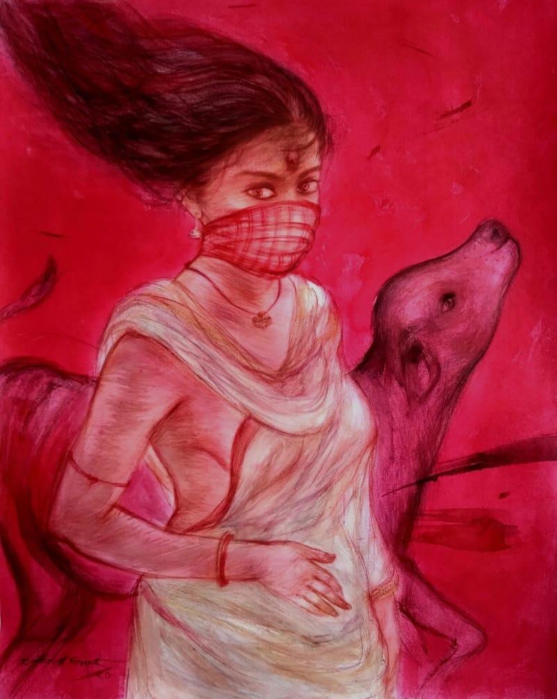 Gouranga Beshai Durga 1 Mixed Media on Paper 22×28 inches 2020