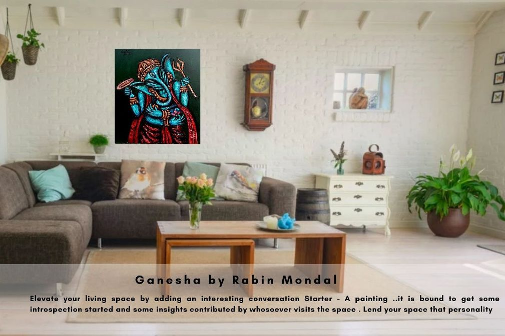 Rabin Mondal, Ganesha, Acrylic on Canvas, 36x42 inches, 2016