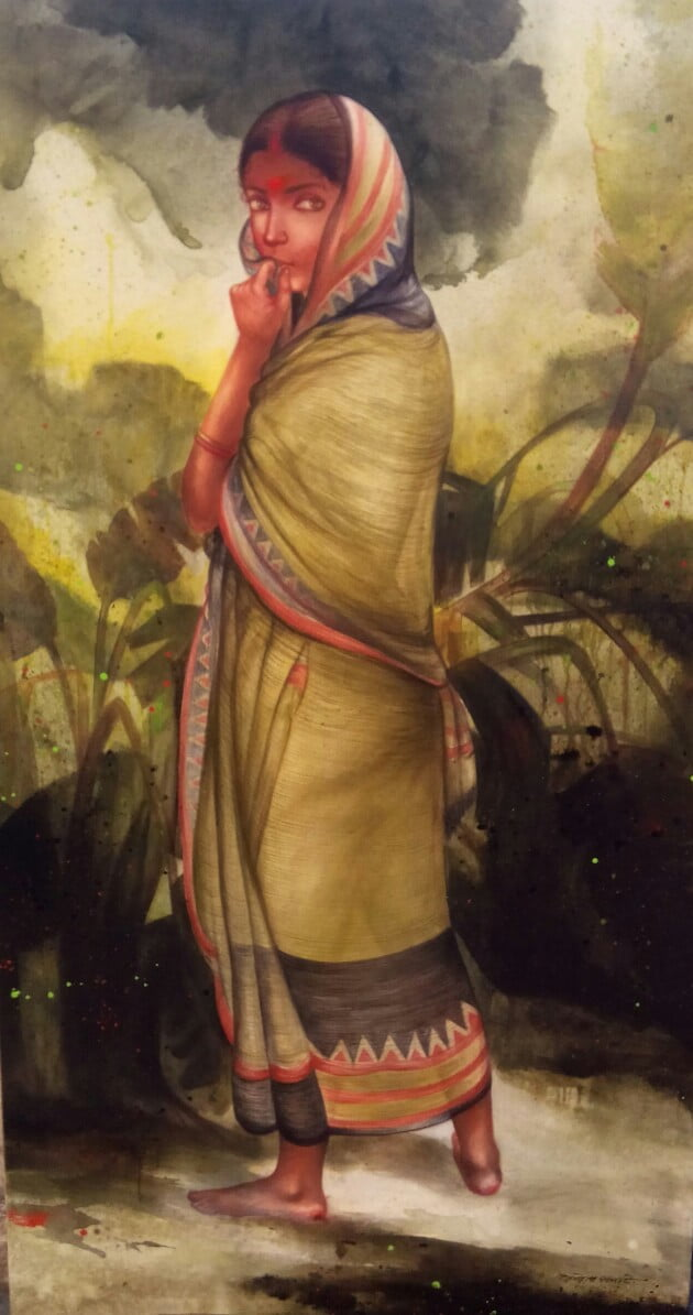 Gouranga Beshai Village Woman Acrylic on Canvas 36×66 inches