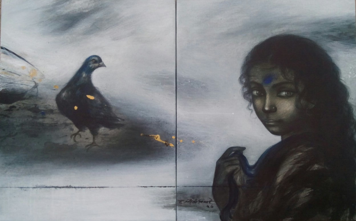 Gouranga Beshai Woman with Bird Acrylic on Canvas 20×32 inches