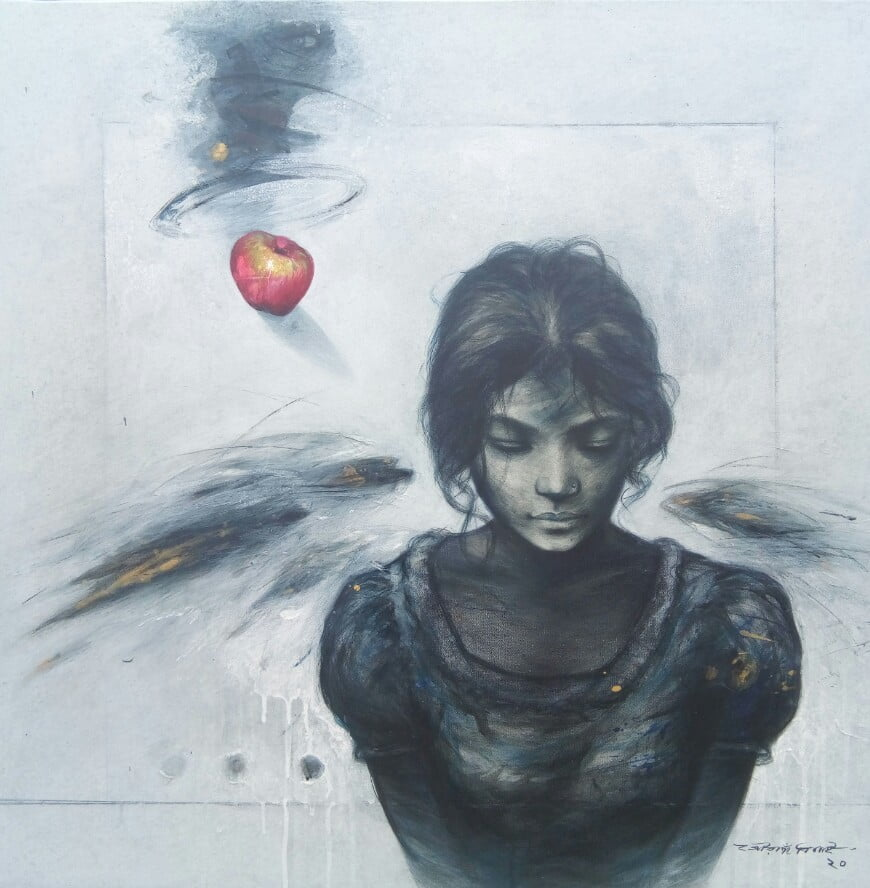 Gouranga Beshai The  Girl Acrylic on Canvas 30×30 inches