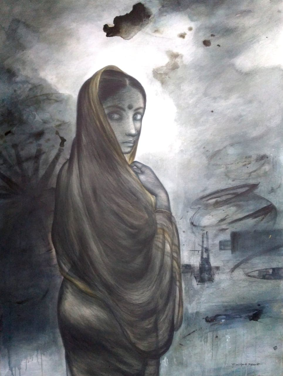 Gouranga Beshai Village Woman Acrylic on Canvas 45×60 inches