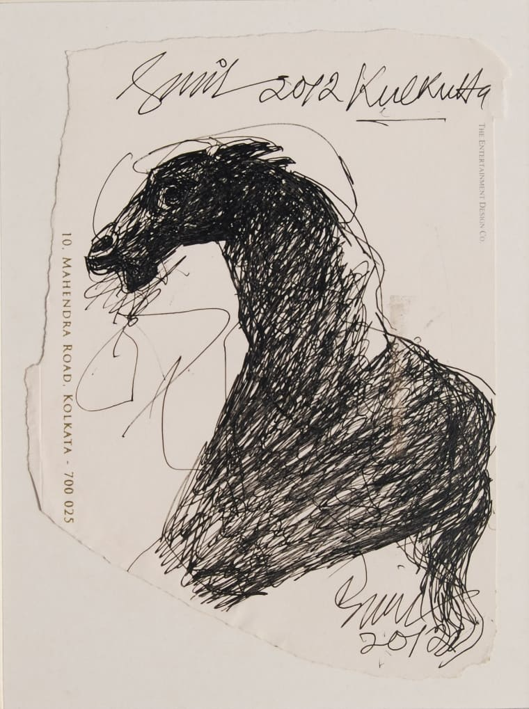 Sunil Das | Horse | Ink on Paper | 9×6 inches | 2012