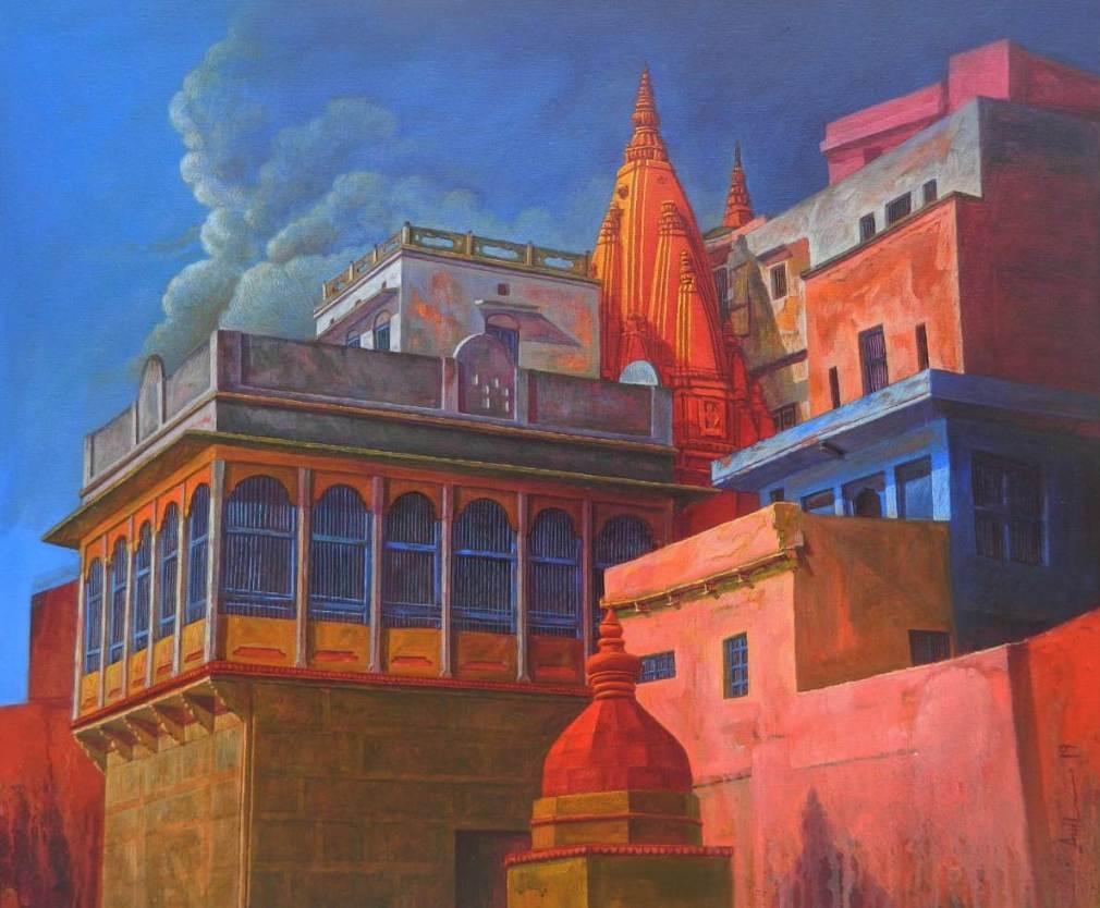 Anil Kumar Yadav Benaras Ghat-XIII Acrylic on Canvas 36×30 inches