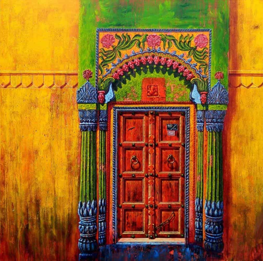 Anil Kumar Yadav Door-IX Acrylic on Canvas 48×48 inches