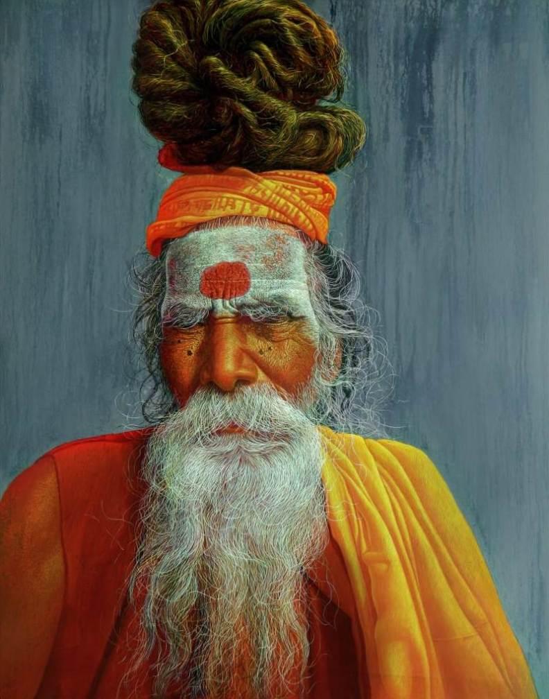 Anil Kumar Yadav Sadhu-5 Acrylic on Canvas 48×60 inches