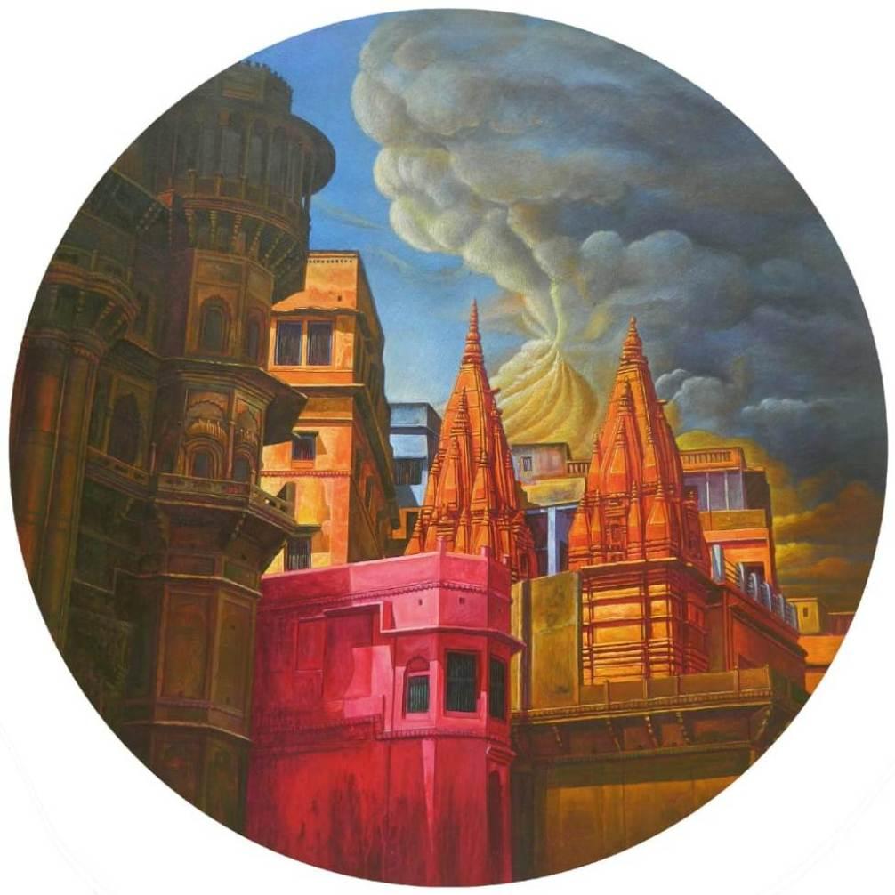 Anil Kumar Yadav Varanasi-15 Acrylic on Canvas 36 inches (Dia)