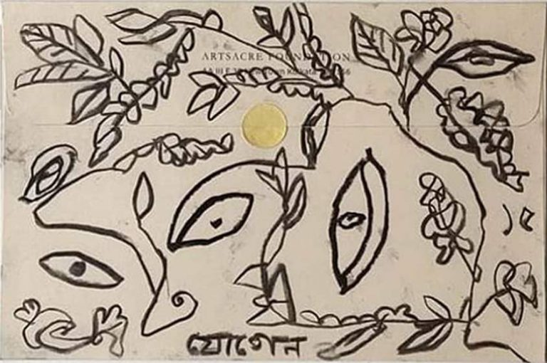 Jogen Chowdhury   Untitled   Charcoal on Paper Envelope   5.7x8.7 inches   2015 INR :50000