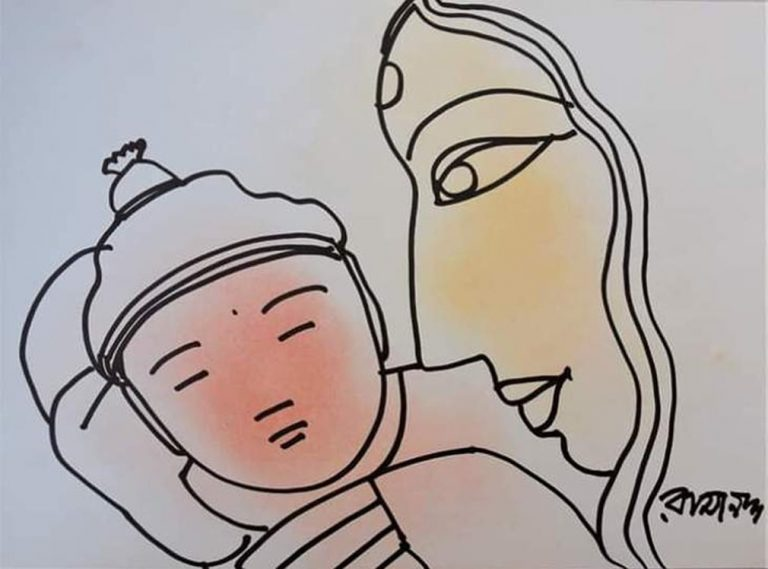 Ramananda   Mother & Child Pastel Ink on Paper   15x11 inches INR 45,000/-